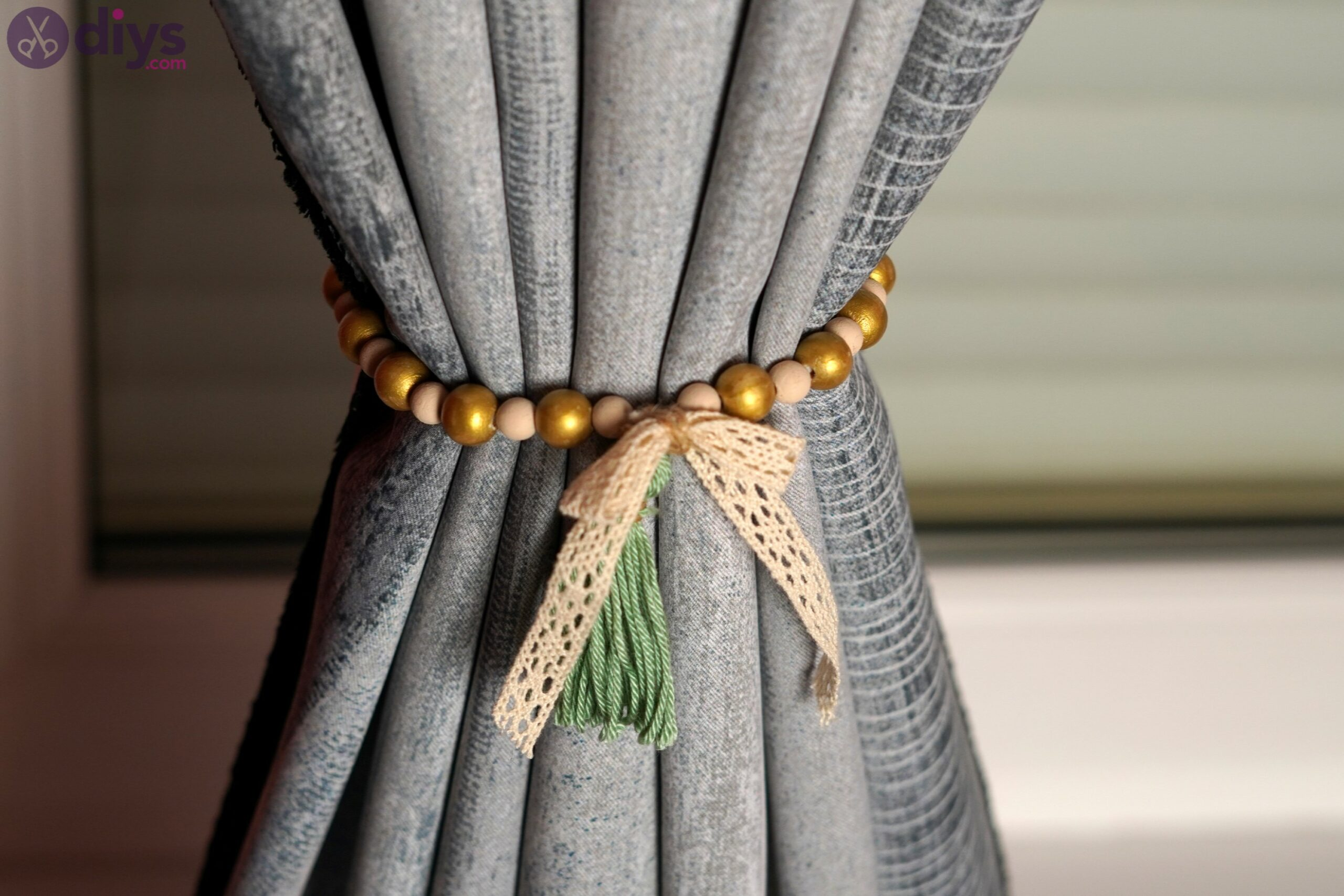 Wooden bead curtain tieback photos (2)