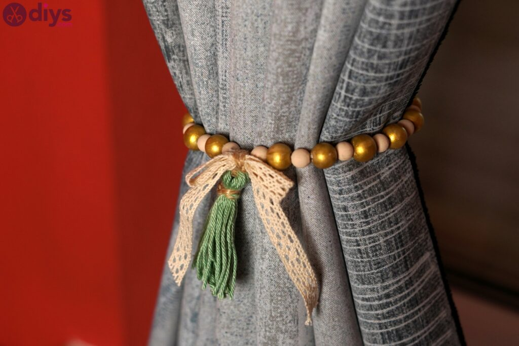 Wooden bead curtain tieback photos (4)