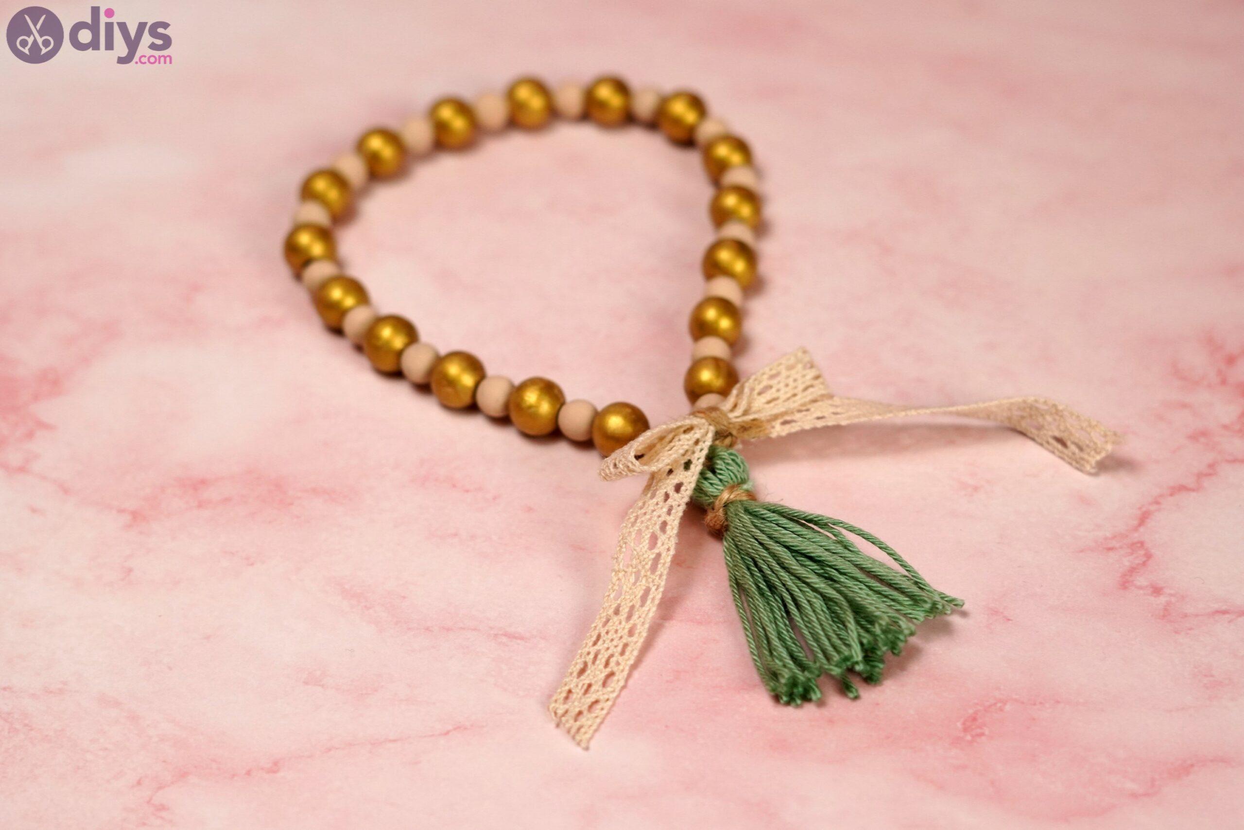 Wooden bead curtain tieback photos (7)