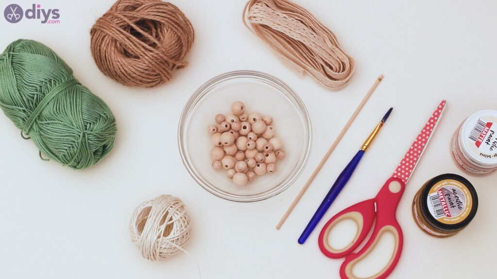Wooden bead curtain tieback materials