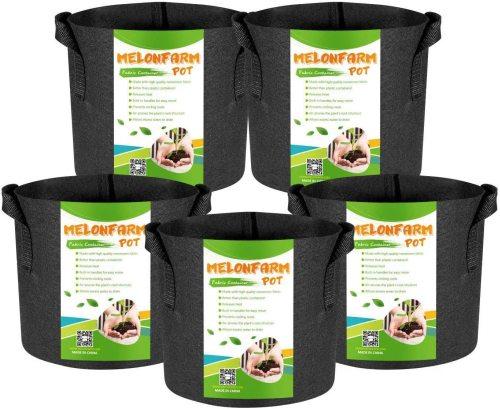 Melonfarm 5 pack 3 gallon grow bags
