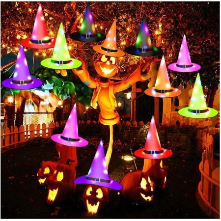 12 pcs lighted witch hats, upgrade hanging witch hats string lights for outdoor