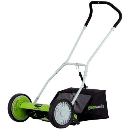 Greenworks 16 inch reel lawn mower with grass catcher