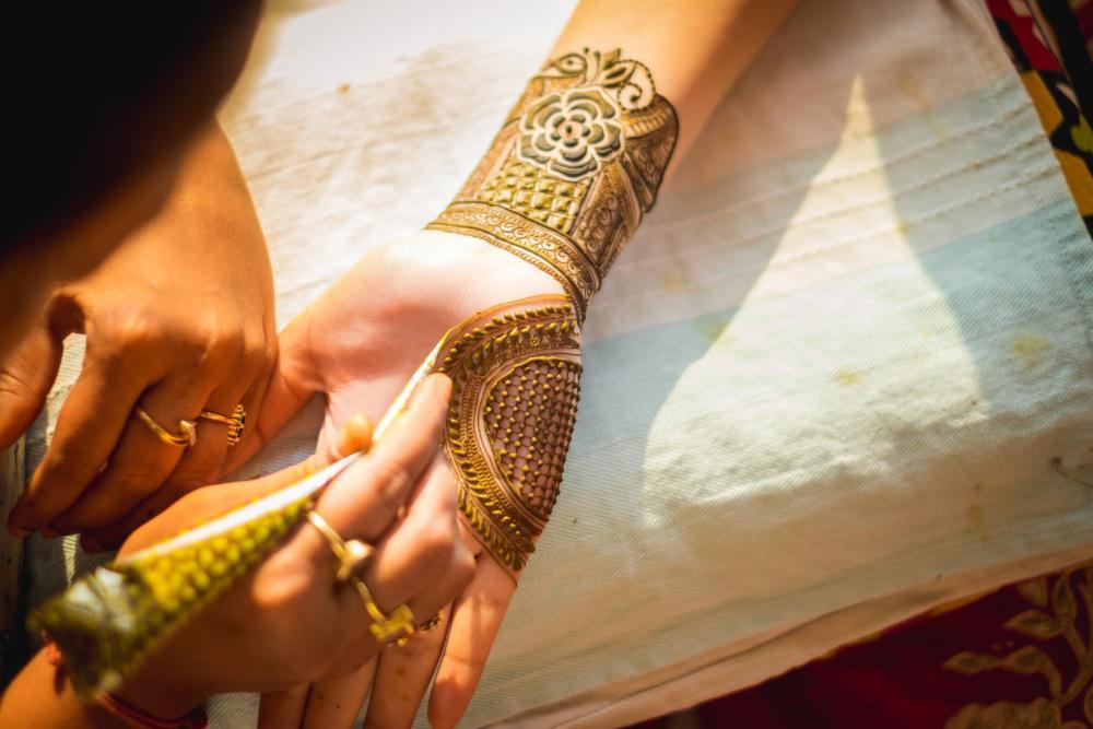 Groom henna hand tattoo