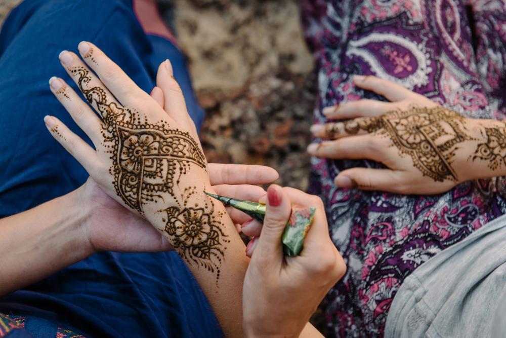 Floral Henna Hand Tattoo