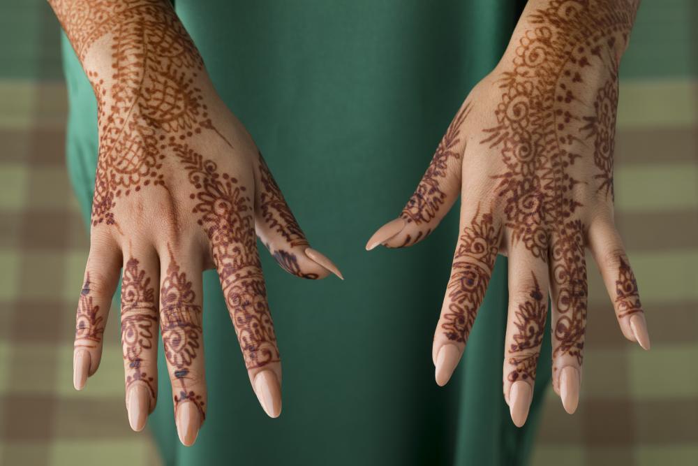 Traditional henna hand tattoo