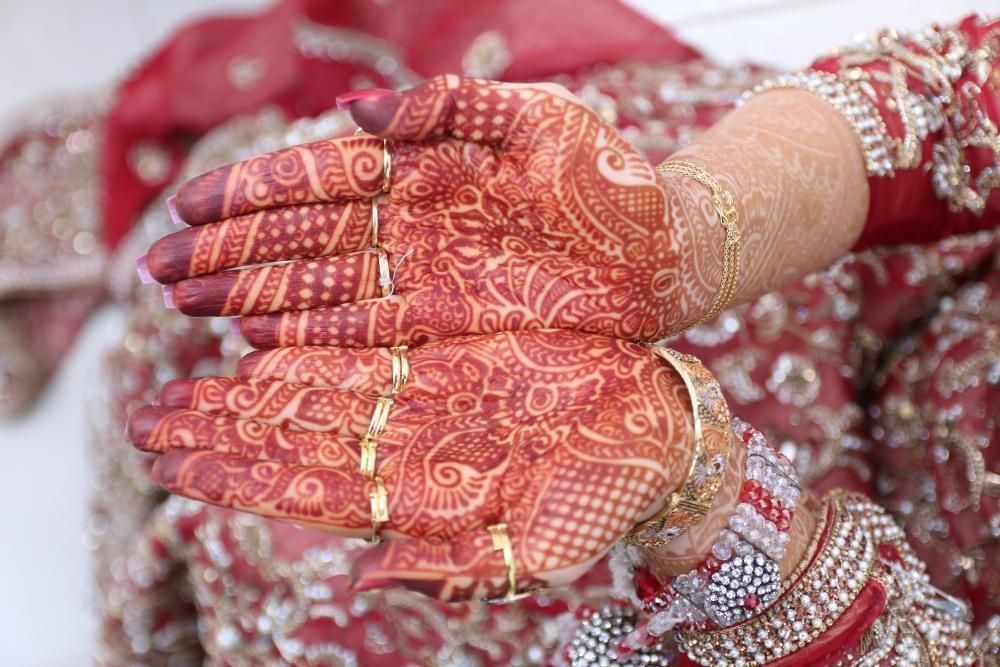 Bridal red henna tattoo