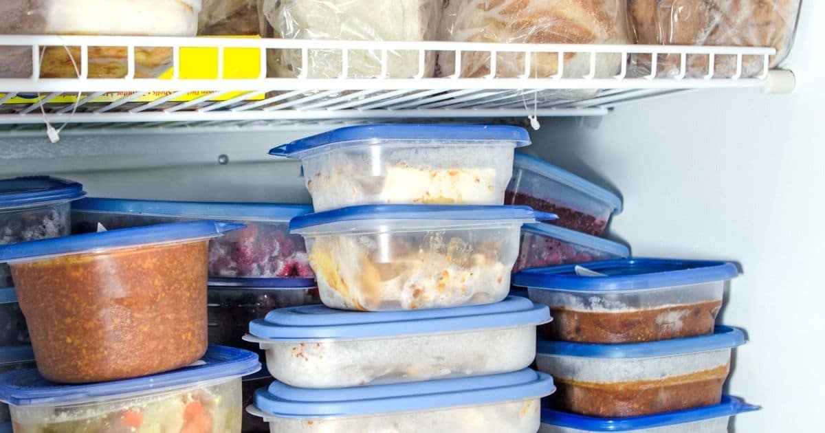 A picture of Tupperware in the freezer