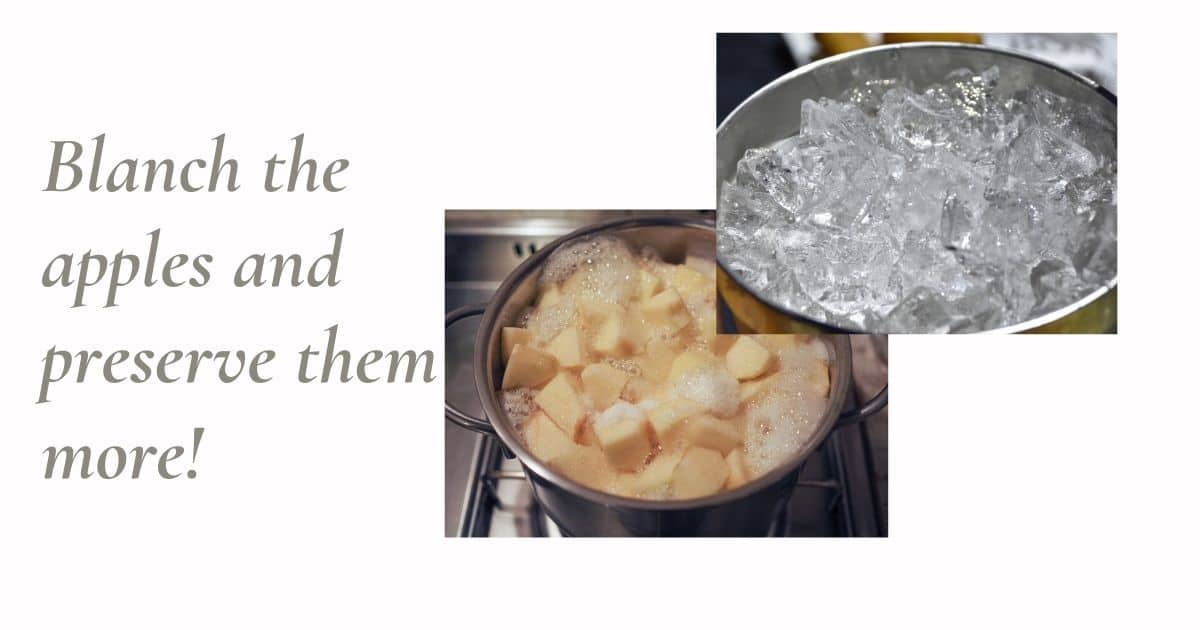 prepare apples for freezing by blanching