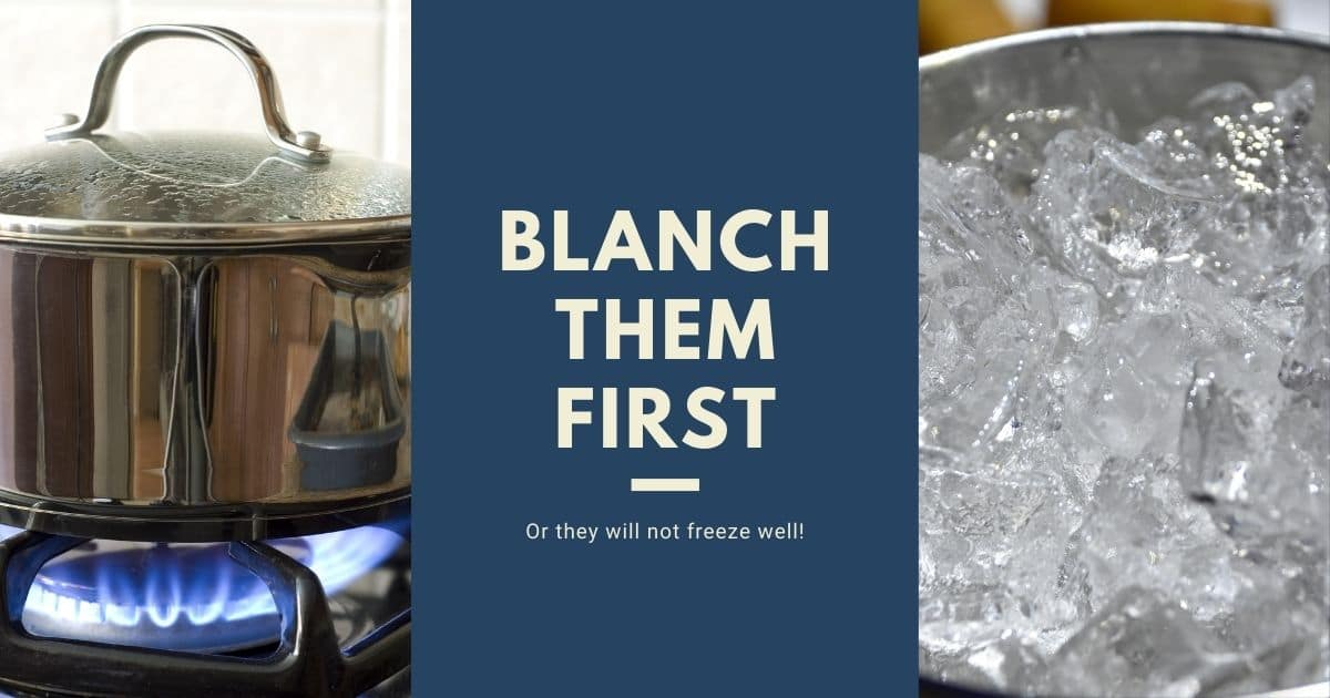 A banner with pictures of the two steps to blanch the sprouts