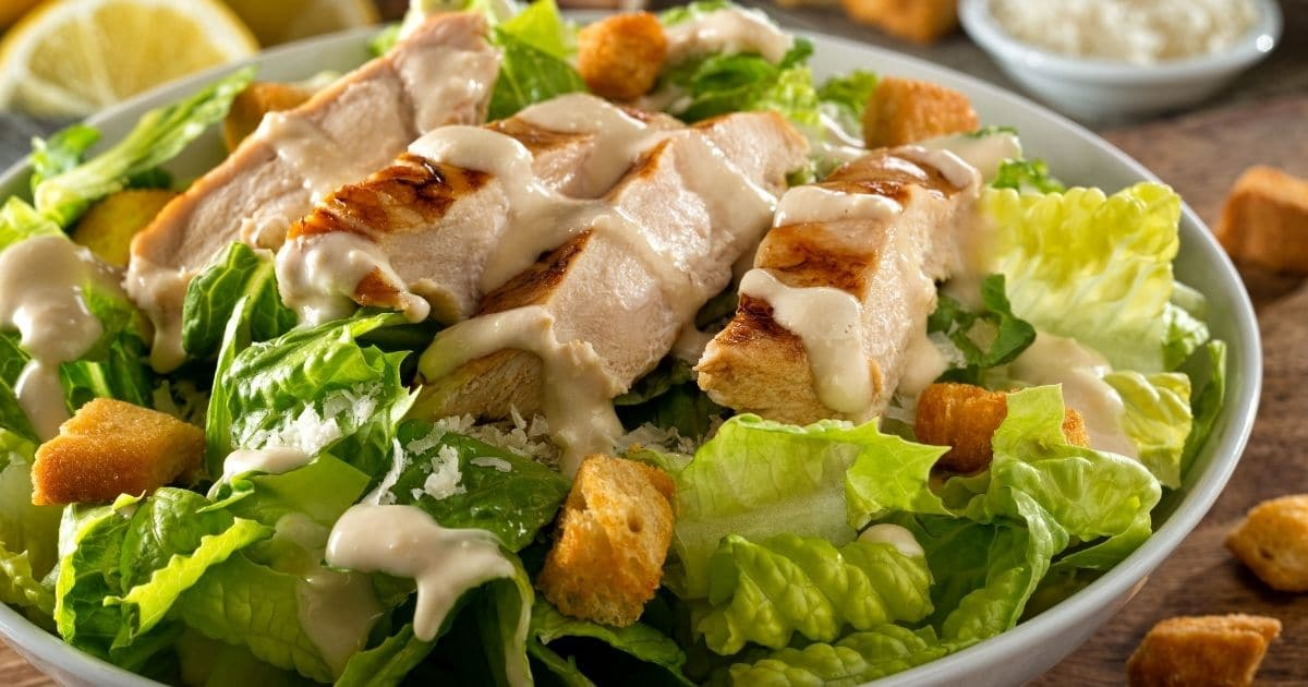 A picture of a chicken salad with mayonaise