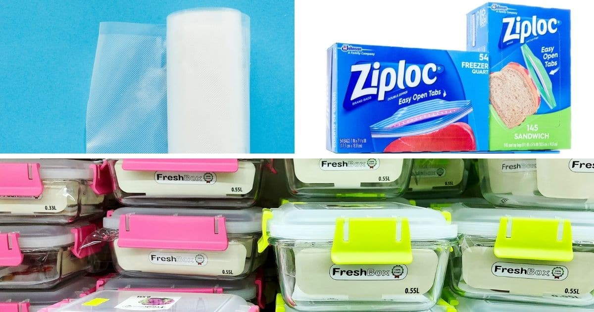 Pictures of Ziploc Bags, food saver bags and airtight containers
