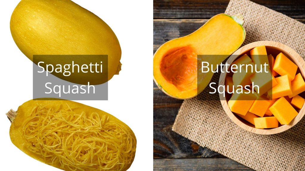 A picture showing the difference between spaghetti squash and butternut squash