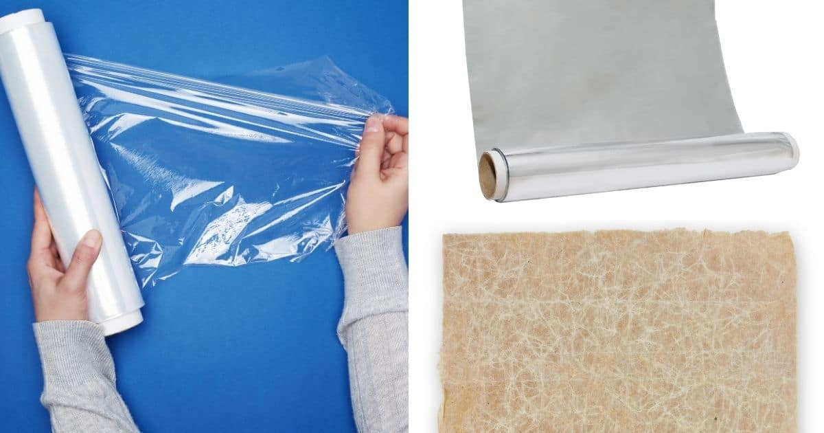 Pictures of cling film, wax paper and foil