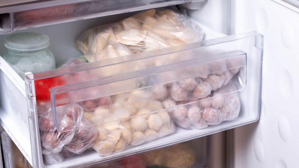A picture showing the spaghetti squash in the freezer
