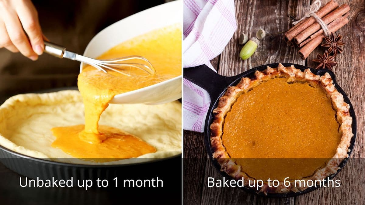 A banner showing the freezing times for an unbaked pie and a bake pie
