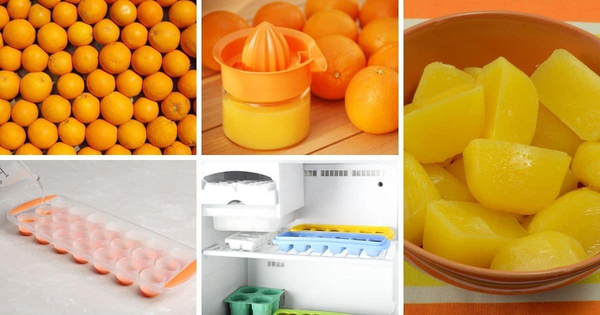 freeze orange juice in ice cube trays