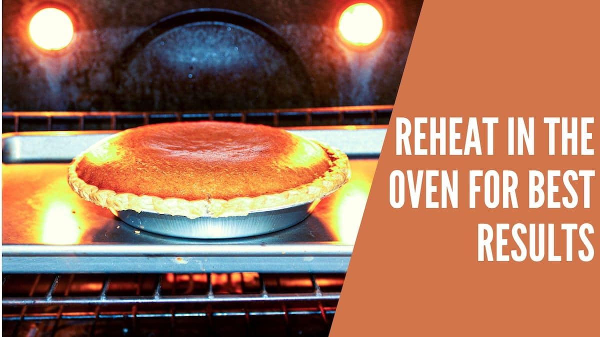 """A banner with the words """"reheat in the oven for best results"""""""