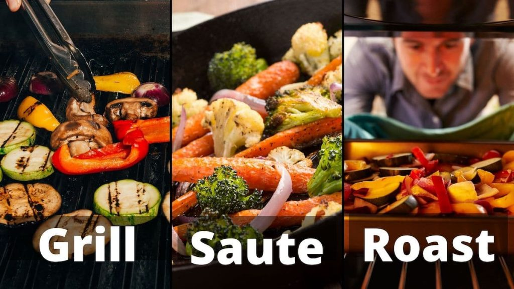 """A banner showing the 3 methods to use in order to reheat the thawed roasted vegetables """"grilled, sauted, and roasted"""""""