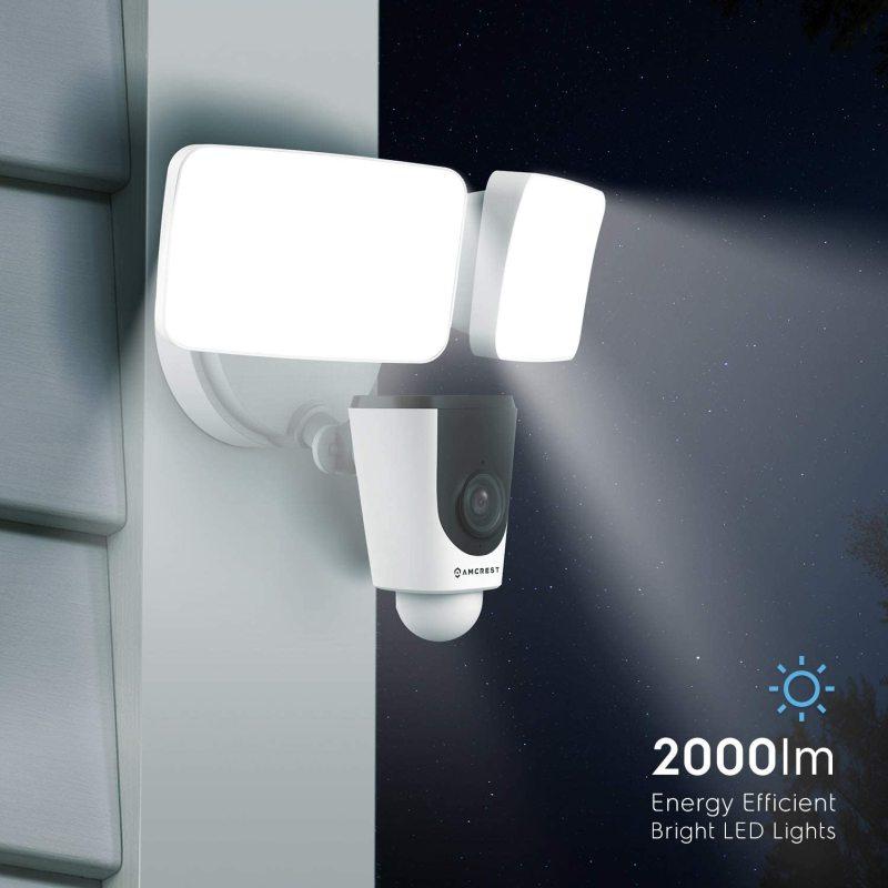 Amcrest floodlight camera, smart home 1080p security