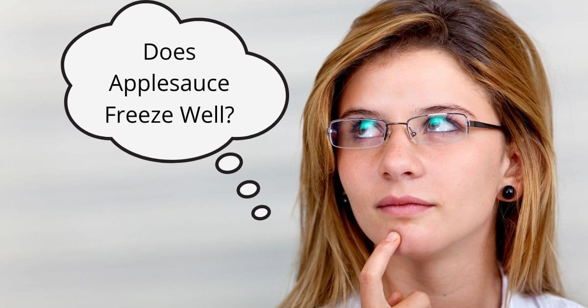 A banner of a lady wondering if apple sauce freezes well?