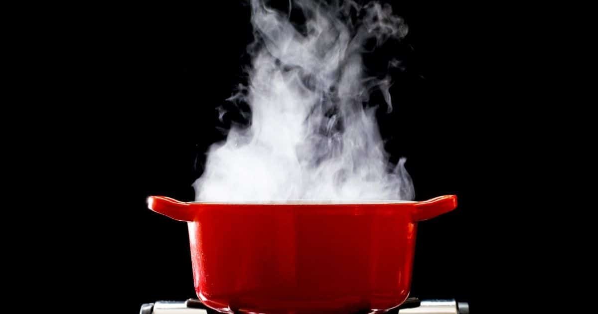 A pot with boiling water