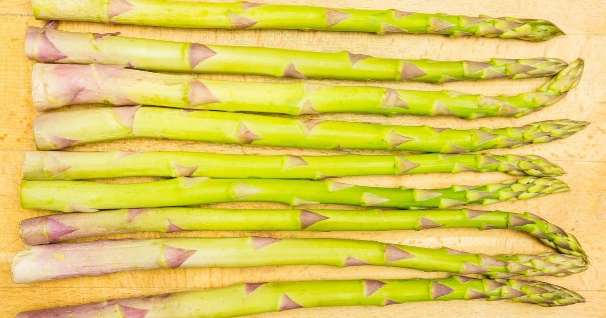 Asparagus laying on the counter drying
