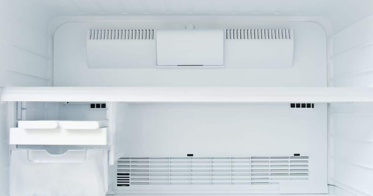 The inside of a freezer