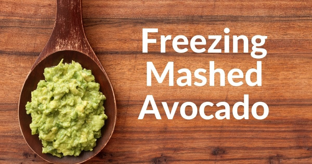 """mashed avocado in a wooden spoon and the words """"freezing mashed avocado"""""""