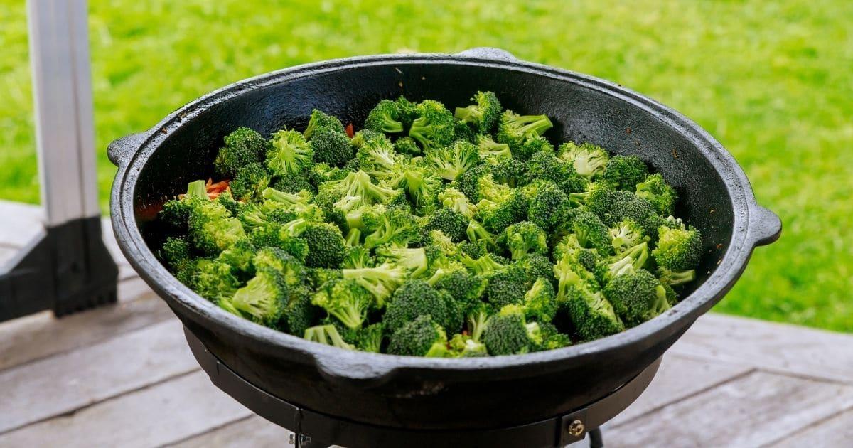 Cooking frozen broccoli florets.