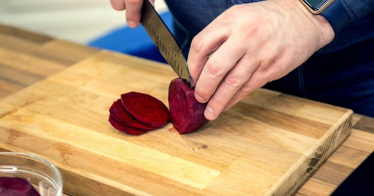 A beet being cut