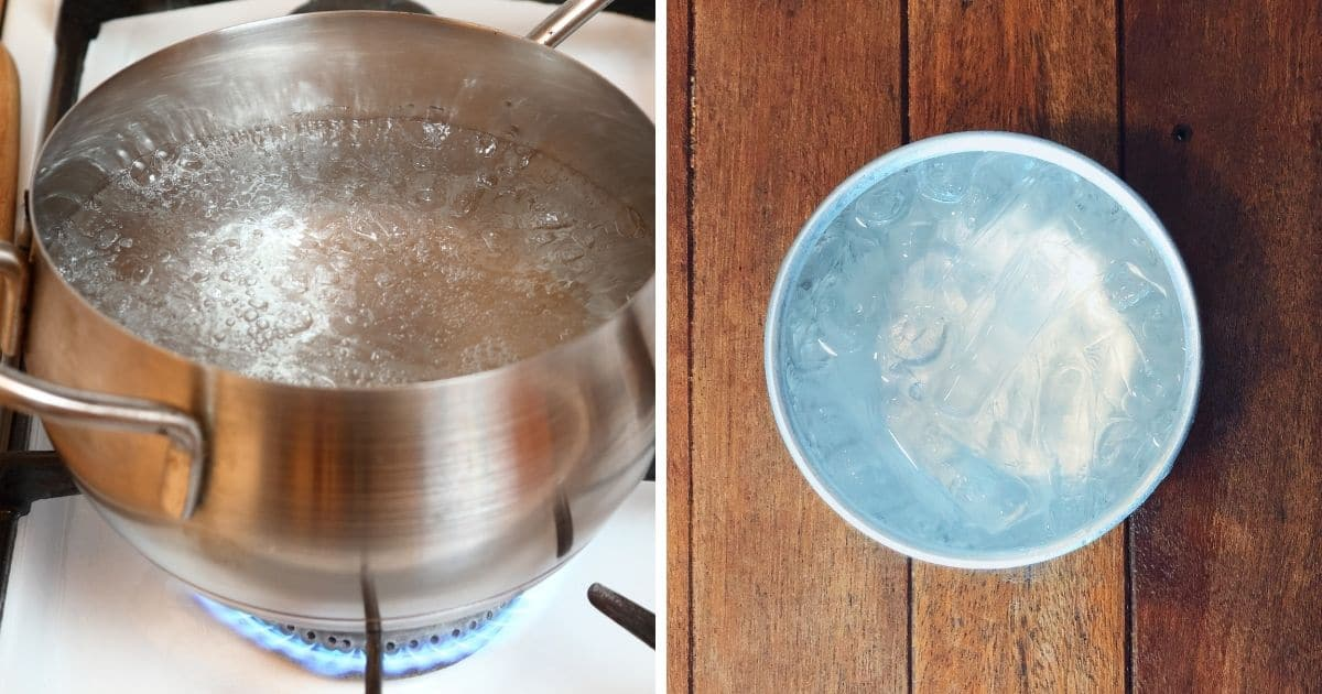 A pot of boiling water and a bowl of cold icy water