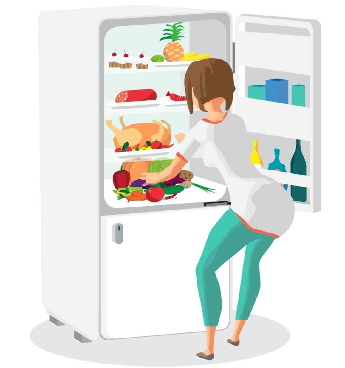 A picture showing a turkey in the refrigerator