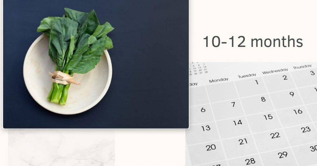 Picture of collard greens with a calendar