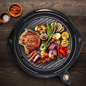 Elite Gourmet EMG-980B Large Indoor Electric Round Nonstick Grill