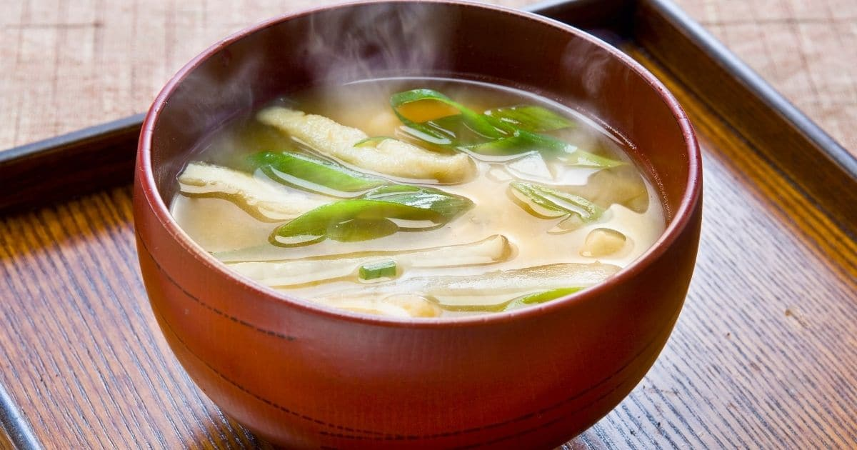 Green onions in a delicious hot soup