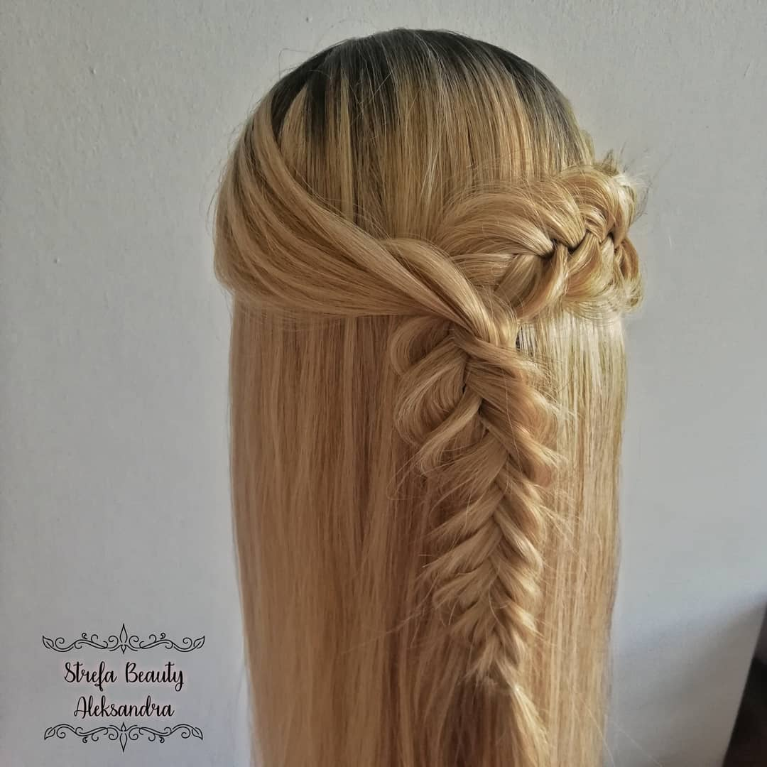 Half up fishtail braid