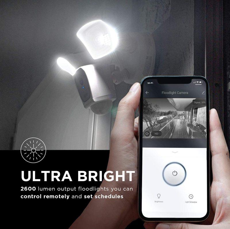Home zone security floodlight camera