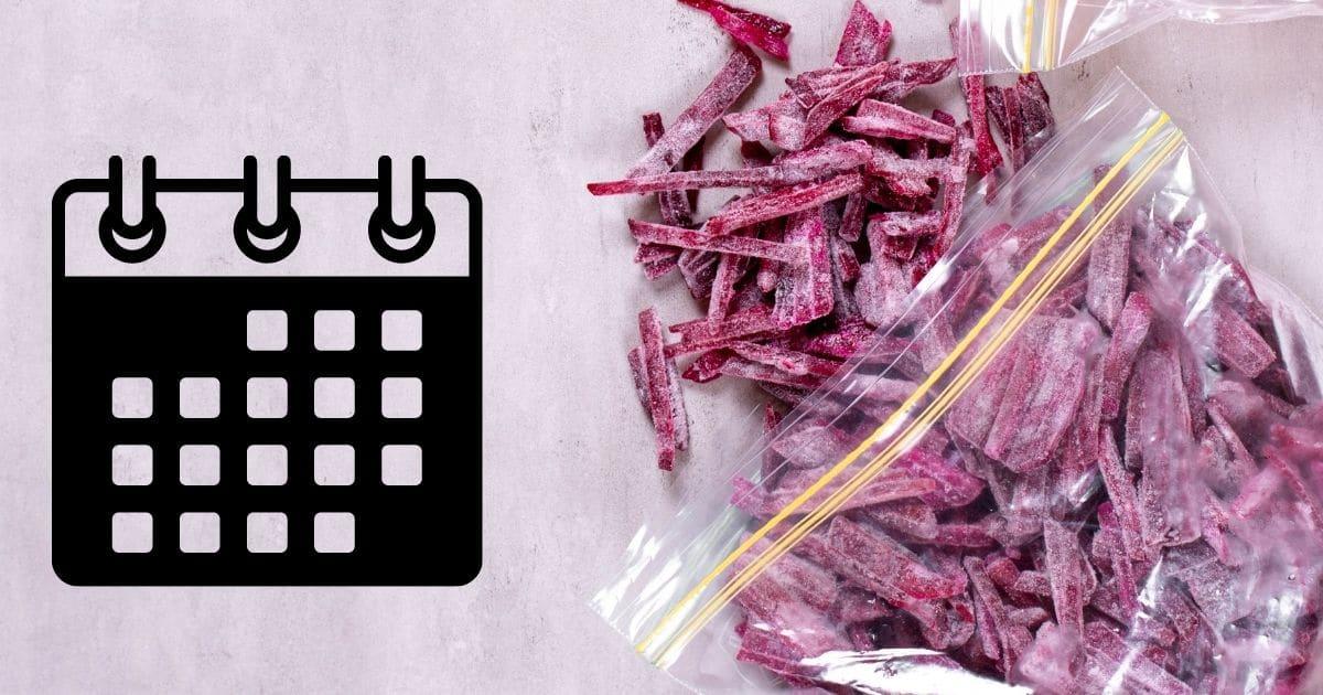 Frozen beets next to a calendar
