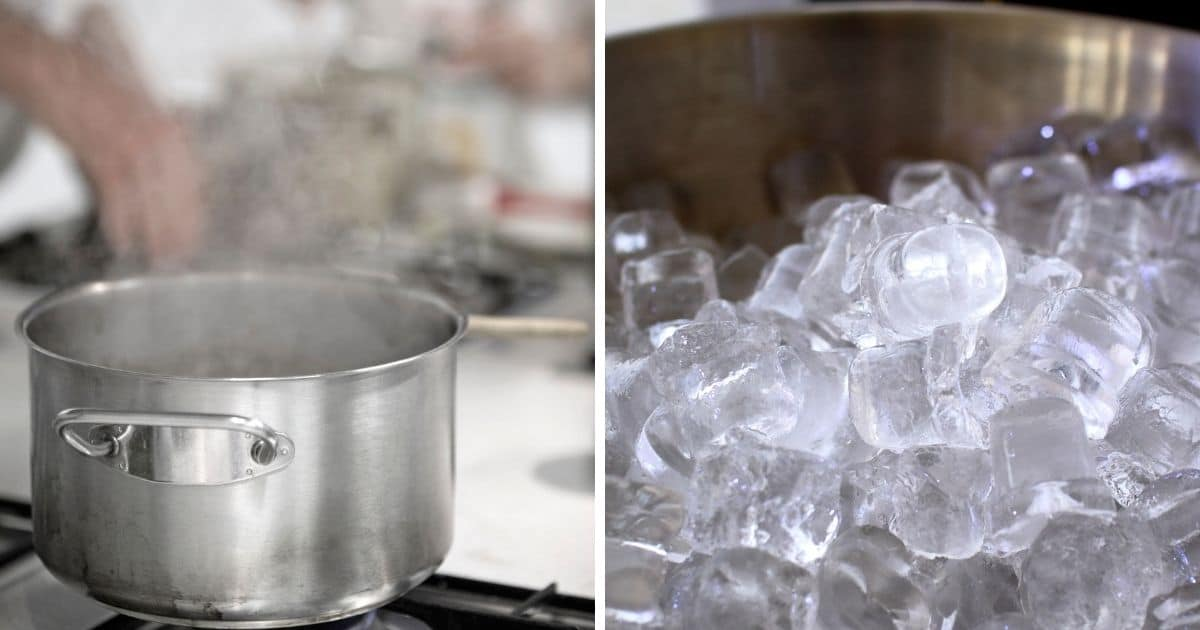 A pan of boiling water on the stove, and loads of ice in a metal bowl