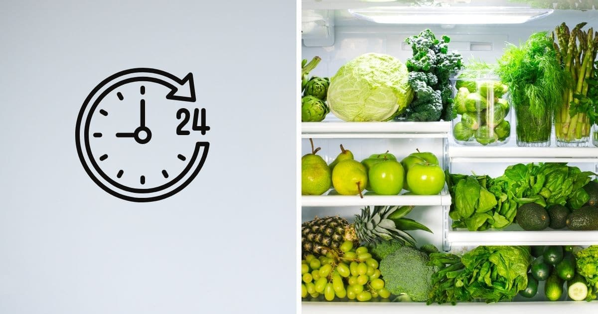 Green fruit and vegetables in the fridge next to a 24 hour clock