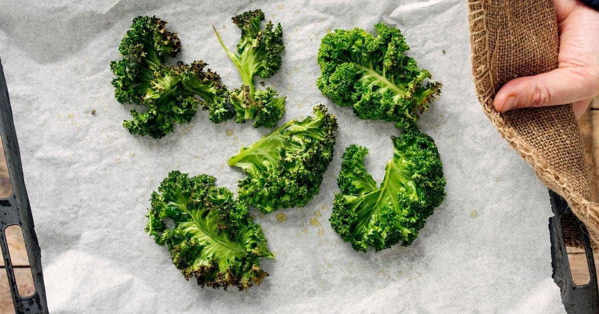 Cut Kale on a tray lined with parchment paper