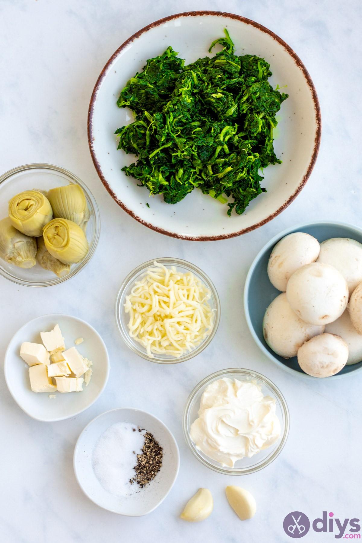 Keto spinach artichoke stuffed mushrooms
