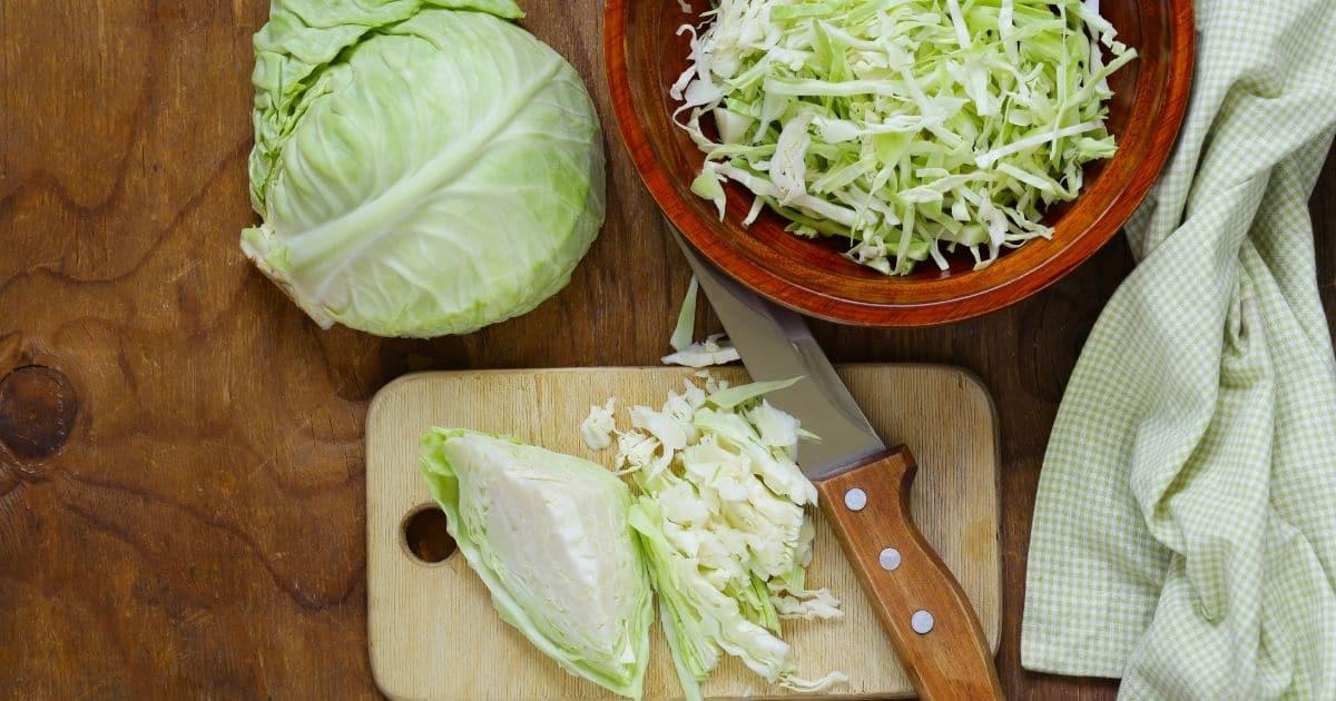 Raw shredded cabbage