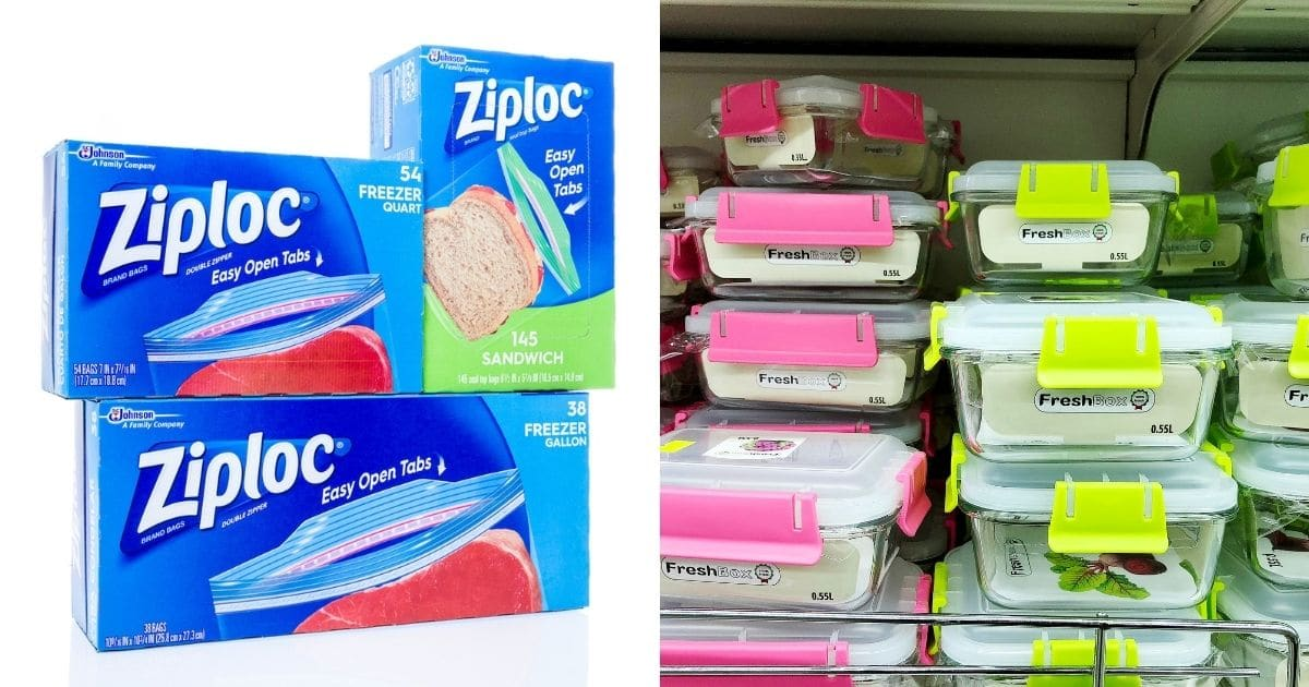 Ziploc bag boxes of different sizes and airtight container of different sizes