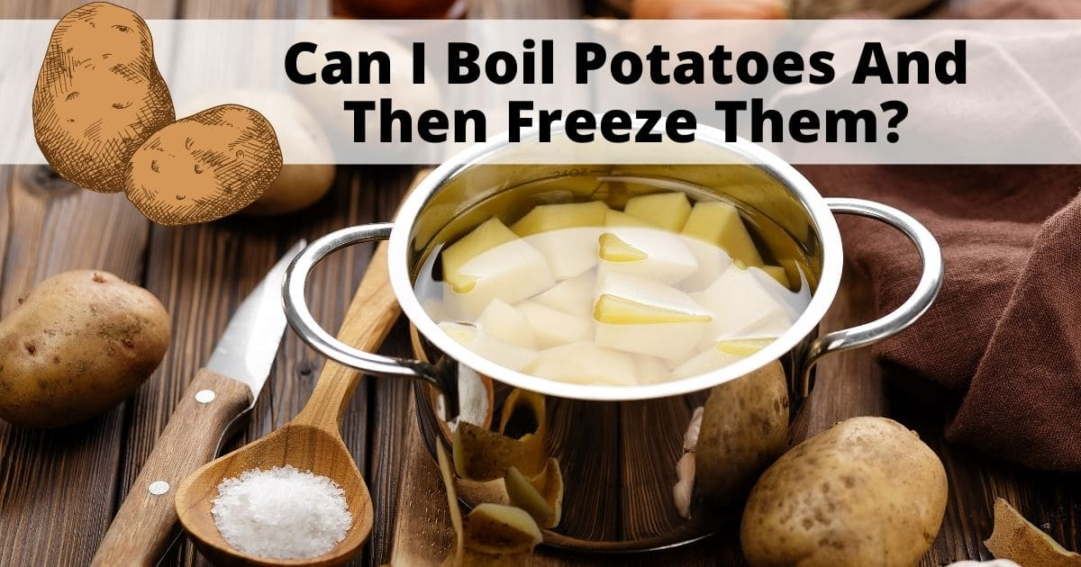 Peeled and cut potatoes inside a metal pan full of water. whole and unpeeled potatoes on top of a wooden table, together with a knife and a wooden spoon with salt