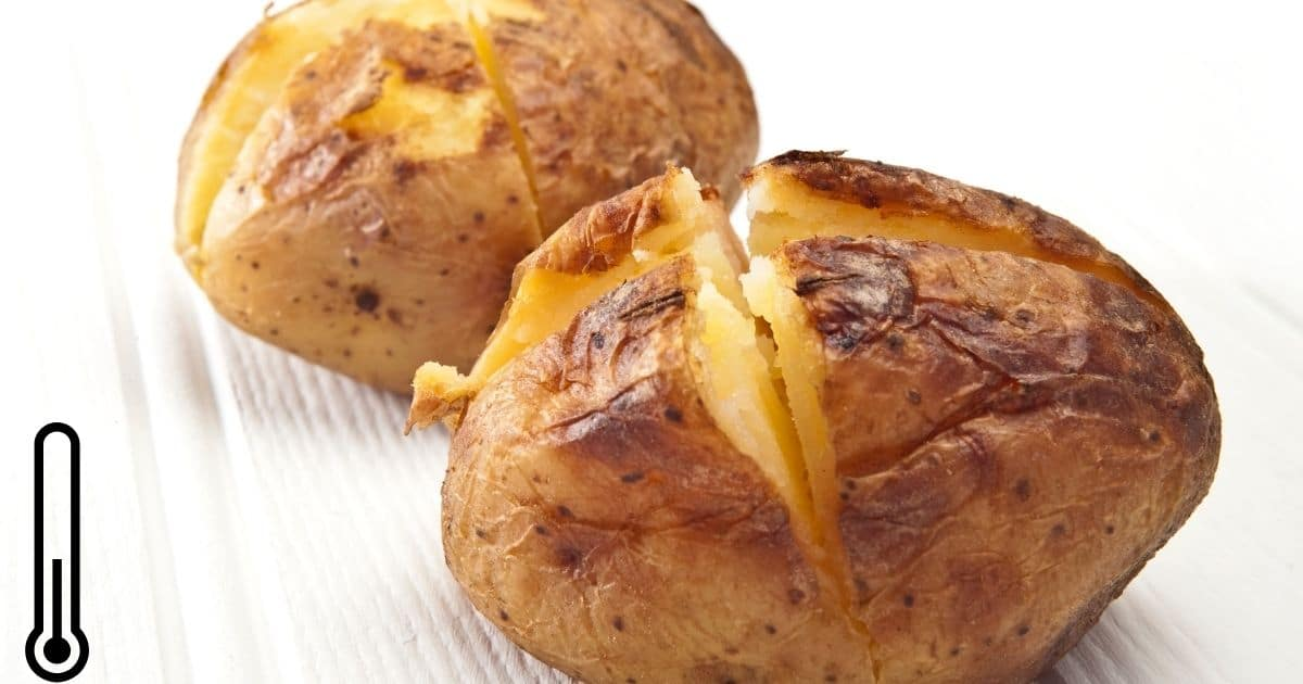 Baked jacket potatoes cooling down at room temperature