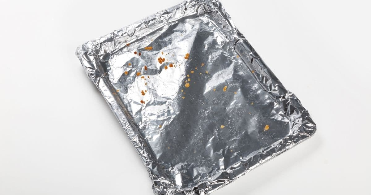 A baking tray with foil