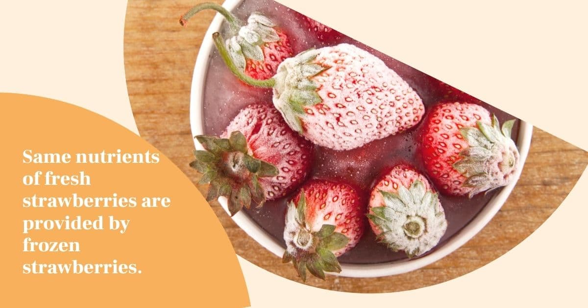 "A banner of frozen strawberries with the words ""same nutrients of fresh strawberries are provided by frozen strawberries"""