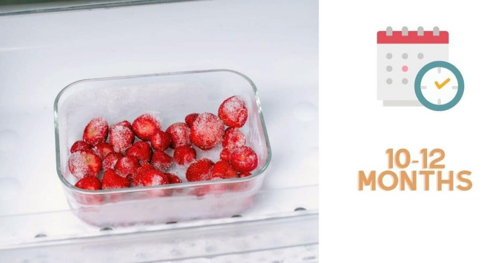 "A banner of frozen strawberries with the words ""10-12 months"""